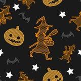 Modèle sans couture de vecteur de Halloween sur le fond de vintage image libre de droits