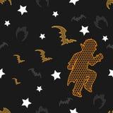 Modèle sans couture de vecteur de Halloween sur le fond de vintage image stock