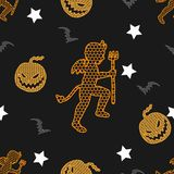 Modèle sans couture de vecteur de Halloween sur le fond de vintage photos stock
