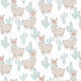 Modèle sans couture de vecteur de lama et de cactus illustration stock