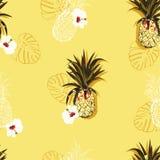 Modèle sans couture de vecteur lumineux d'été avec les ananas colorés et les fleurs de ketmie mélangées à la ligne conception tir illustration libre de droits