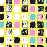 Modèle sans couture de vecteur de Memphis Style Geo Sketchy Abstract, illustration stock