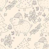Modèle sans couture de vecteur de Noël avec les illustrations détaillées de vacances illustration libre de droits