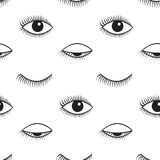 Modèle sans couture de vecteur ouvert et fermé de yeux Photographie stock