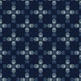 Modèle sans couture de vecteur de patchwork de batik de colorant de bleu d'indigo Japonais tiré par la main illustration de vecteur