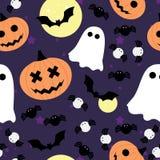 Modèle sans couture de vecteur pour Halloween Potiron, fantôme, batte, et araignée Photographie stock