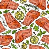 Modèle sans couture de vecteur de Salmon Fillet, citron, herbes Rosemary, marjolaine, persil, Rocket Salad, clou de girofle Fruit Photographie stock
