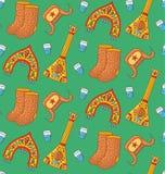 Modèle sans couture de vecteur de symboles russes de griffonnage illustration stock