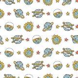 Modèle sans couture de vecteur de système solaire d'imagination de fond cosmique de l'espace illustration stock
