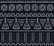 Modèle sans couture de vecteur de tipi de tribu de schéma Photo stock
