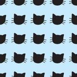 Modèle sans couture de vecteur tiré par la main de chats illustration stock