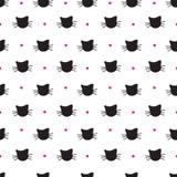 Modèle sans couture de vecteur tiré par la main de chats illustration libre de droits