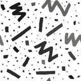 Modèle sans couture de vecteur tiré par la main dans le style de Memphis avec des rayures, le zigzag et des gouttes sur le fond b Image stock