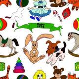 Modèle sans couture de vecteur tiré par la main Jouets pour l'illustration de children Images stock