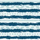 Modèle sans couture de vecteur tribal bleu et blanc avec des éléments de griffonnage Copie géométrique abstraite aztèque d'art et Images libres de droits
