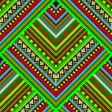 Modèle sans couture de vecteur tribal rayé coloré Fleuri abstrait illustration stock
