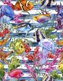 Modèle sans couture de vie marine d'aquarelle sur un rayé Images libres de droits