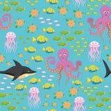 Modèle sans couture de vie marine sous-marine Photo libre de droits