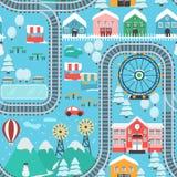 Modèle sans couture de ville d'hiver de voie neigeuse de train Images stock
