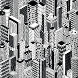 Modèle sans couture de ville de gratte-ciel - milieu illustration stock