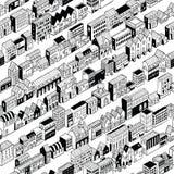 Modèle sans couture de ville de rangée isométrique illustration libre de droits