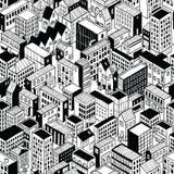 Modèle sans couture de ville isométrique - petit illustration stock