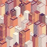 Modèle sans couture de ville isométrique plate colorée Photos stock