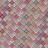 Modèle sans couture de vintage avec des éléments de patchwork de tuile Photographie stock