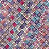 Modèle sans couture de vintage avec des éléments de patchwork de tuile Images stock