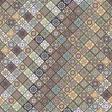 Modèle sans couture de vintage avec des éléments de patchwork de tuile Image libre de droits