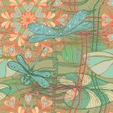Modèle sans couture de vintage avec des libellules et des fleurs Images stock