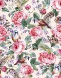 Modèle sans couture de vintage floral d'aquarelle avec illustration libre de droits