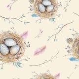 Modèle sans couture de vintage floral naturel d'aquarelle avec des nids, wr illustration libre de droits