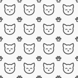 Modèle sans couture de visages et de pattes de chat illustration de vecteur