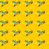 Modèle sans couture de voiture publique de taxi Cabine sur le fond jaune Concept de service de taxi Illustration de vecteur illustration stock