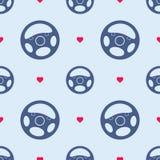 Modèle sans couture de volant de voiture avec des coeurs Photo libre de droits
