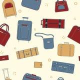 Modèle sans couture de voyage avec des bagages illustration libre de droits