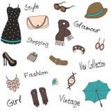Modèle sans couture des accessoires du ` s de femme Photographie stock libre de droits