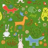 Modèle sans couture des animaux dans la forêt illustration stock