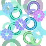 Modèle sans couture des anneaux et des fleurs dans des couleurs en pastel sur un fond clair images stock
