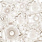 Modèle sans couture des appareils-photo avec la bulle de la parole Image libre de droits