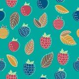 Modèle sans couture des baies de jardin Baies et feuilles abstraites sur un fond de couleur Image libre de droits