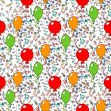 Modèle sans couture des ballons mignons de colorfull différent Concevez pour le joyeux anniversaire, partie, fête de naissance, j illustration libre de droits