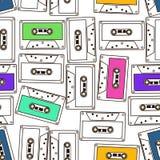Modèle sans couture des bandes de cassette sonore illustration stock