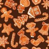 Modèle sans couture des biscuits de pain d'épice d'aquarelle Photos libres de droits