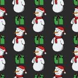Modèle sans couture des bonhommes de neige illustration de vecteur