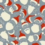 Modèle sans couture des chapeaux, des barbes et des lunettes de Santa illustration de vecteur