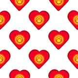 Modèle sans couture des coeurs avec le drapeau du Kirghizistan Photos libres de droits