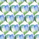 Modèle sans couture des coeurs bleus et verts Rose rouge Wate Photos libres de droits