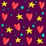 Modèle sans couture des coeurs et des étoiles Images libres de droits